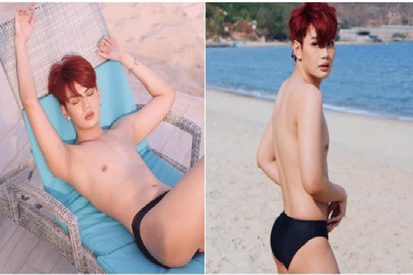 Mùa hè năm nay nóng hơn vài phần khi Đào Bá Lộc mặc độc mỗi chiếc quần bơi thả dáng nằm dài ngoài bãi biển