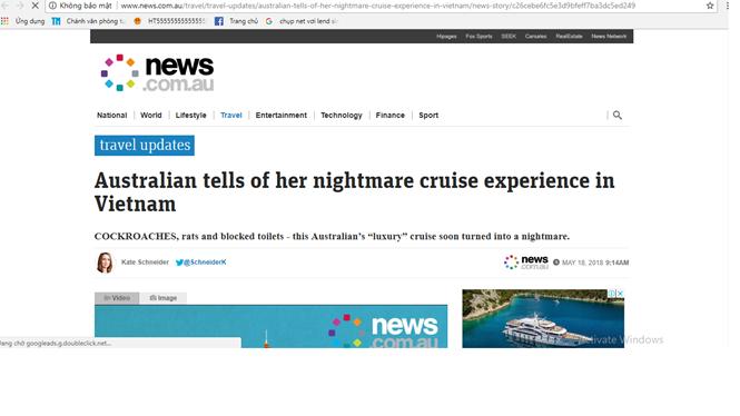 Du khách Úc kể lại chuyến du lịch ác mộng tại vịnh Hạ Long