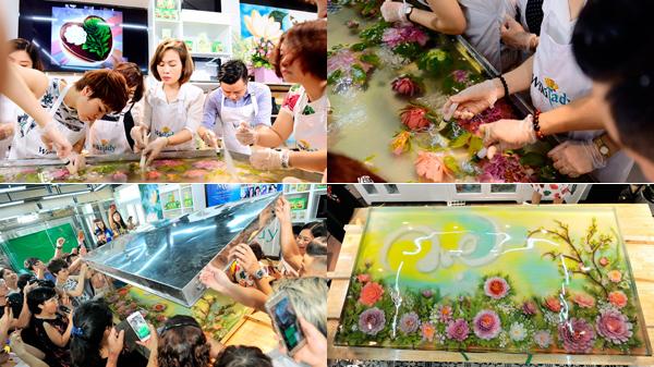 10 nghệ nhân làng bánh lập kỷ lục với tranh thạch 3D nặng 200kg nhân Ngày của Mẹ