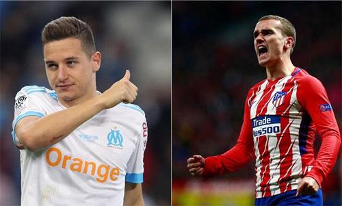 Thauvin (trái) là hy vọng để Marseille đấu với Atletico của Griezmann.