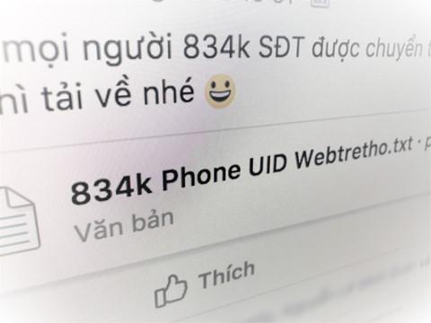 800.000 số điện thoại thành viên trang Facebook Webtretho bị lộ?