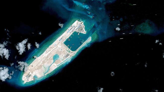 Đá Chữ Thập, nơi Trung Quốc được cho là đã triển khai trái phép tên lửa hành trình tới. Ảnh: AFP.